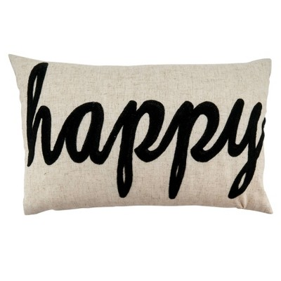"12""x20"" Happy Embroidery Poly Filled Throw Pillow Natural - Saro Lifestyle"
