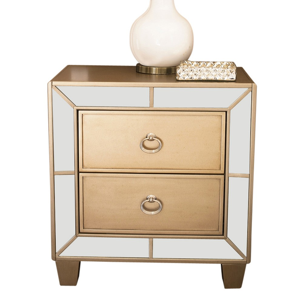 Claudine Mirrored 2 Drawer Nightstand Champagne Gold - Abbyson Living, Brown