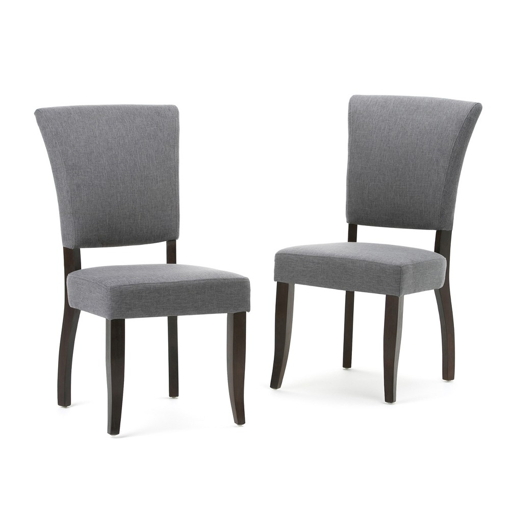 GriffDeluxe Dining Chair Set of 2 Slate (Grey) Gray Linen Look Fabric - Wyndenhall