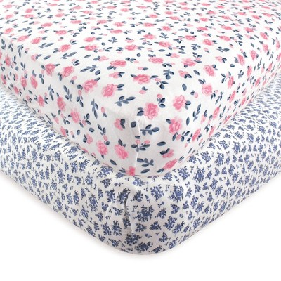 Hudson Baby Unisex Baby Cotton Fitted Crib Sheet - Classic Floral One Size