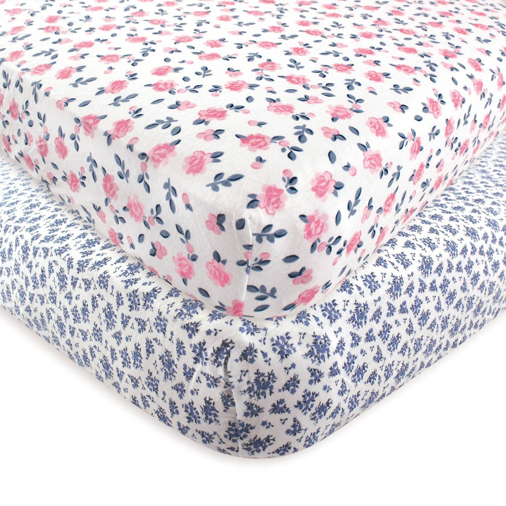 Hudson Baby Unisex Baby Cotton Fitted Crib Sheet Classic Floral One Size