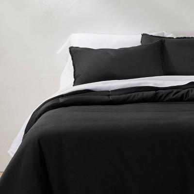 Full/Queen Heavyweight Linen Blend Comforter & Sham Set Washed Black - Casaluna™
