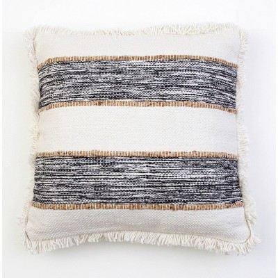 """20""""x20"""" Oversize Bodhi Jute Rope Fringe Trim Square Throw Pillow Black - Décor Therapy"""
