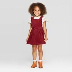 Toddler Girls' Eyelet Top & Corduroy Skirtall Set - Cat & Jack™ Cream/Maroon