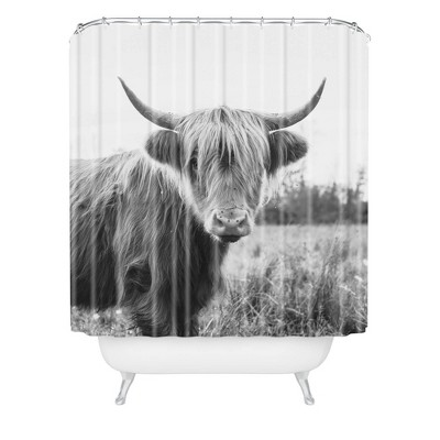 Chelsea Victoria Highland Cow Shower Curtain Black/White - Deny Designs