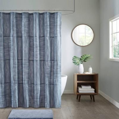 """72""""x72"""" Kelan Printed Seersucker Shower Curtain Blue"""
