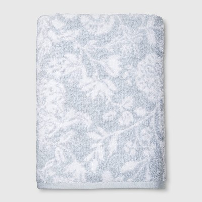 Performance Texture Bath Towel Light Blue Floral - Threshold™