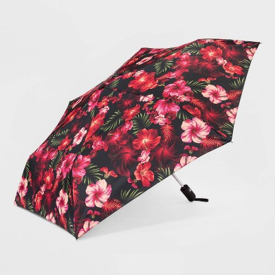 Women's Cirra Floral Print By ShedRain Auto Open Auto Close Compact Umbrella  - Black