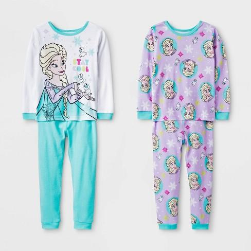 Toddler Girls' 4pc Frozen Pajama Set - White/Aqua Blue - image 1 of 1