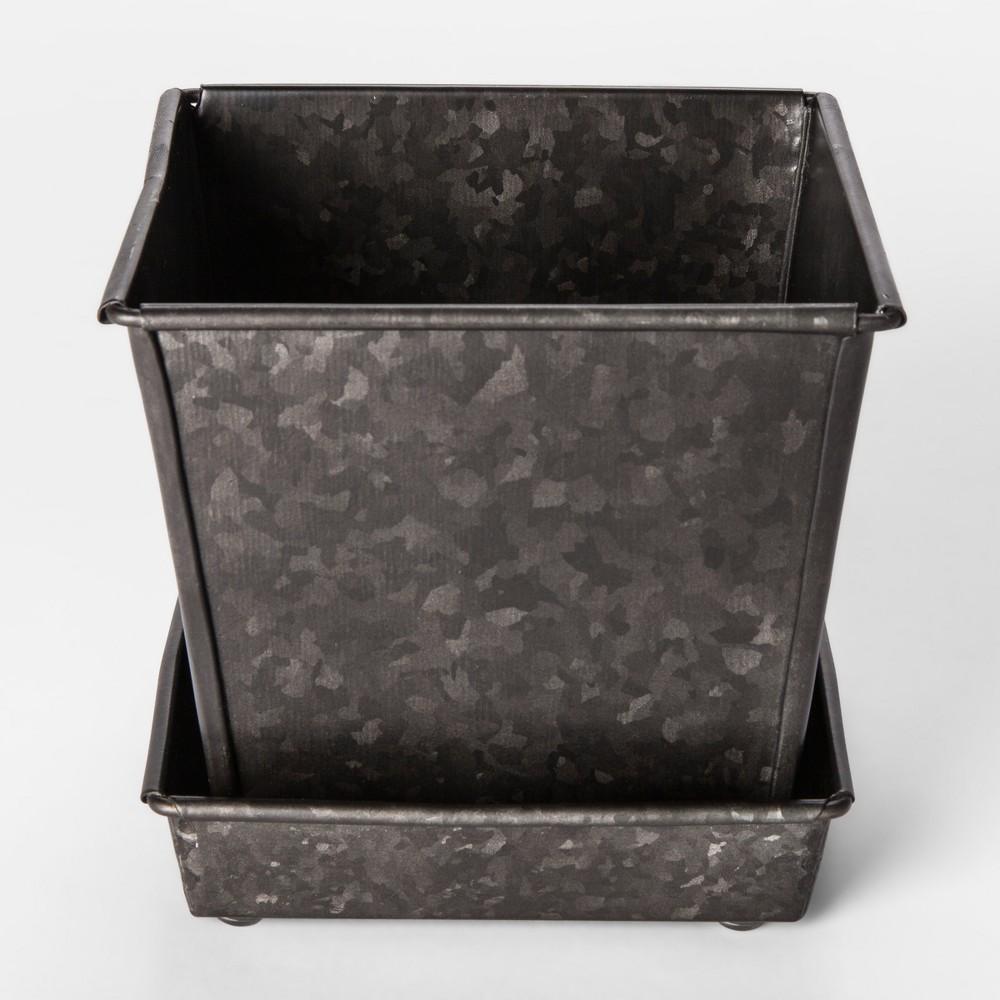Galvanized Planter Pot Small - Smith & Hawken, Dark Grey