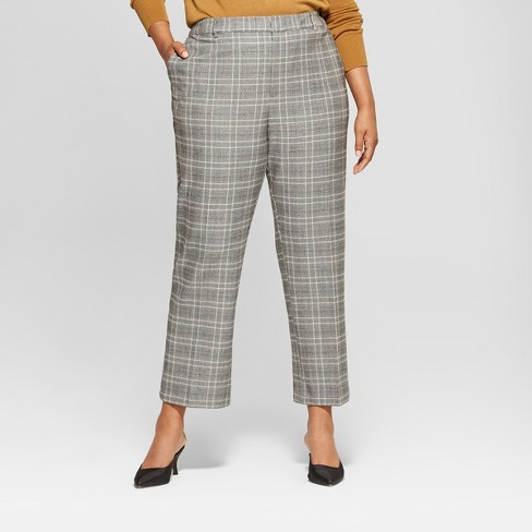 cc5d4d0f65711 Women s Plus Size Plaid Split Back Relaxed Ankle Trouser - Who What Wear™  Blue Cream