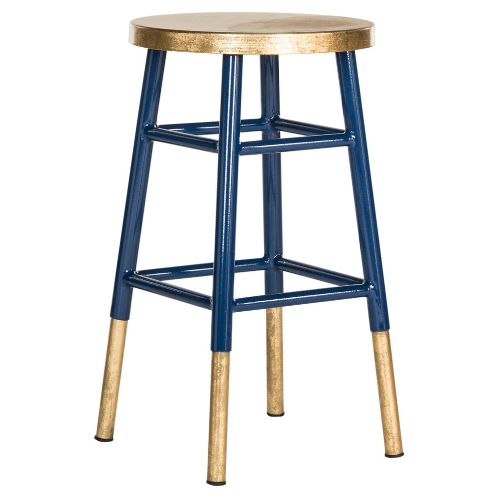 Emery Dipped Gold Leaf Counter stool - Navy (24) - Safavieh, Blue/Gold