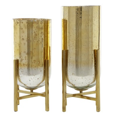 Set of 2 Aluminum and Mercury Glass Candle Holders with Round Base Gold - Venus Williams Collection