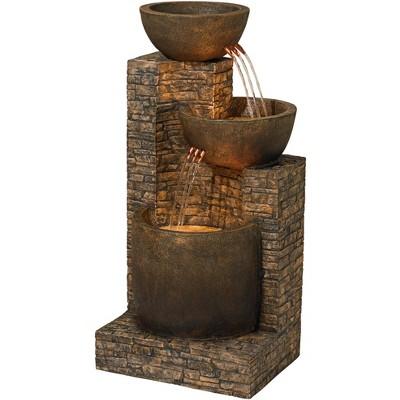 "John Timberland Outdoor Floor Water Fountain Three Bowl Floor Cascade 35"" for Yard Garden Lawn"