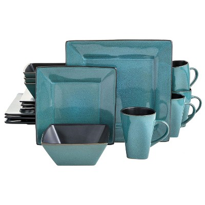 Gibson Elite Kiesling 16 Piece Reactive Glaze Durable Microwave and Dishwasher Safe Plates, Bowls, and Mugs Dinnerware Set, Turquoise