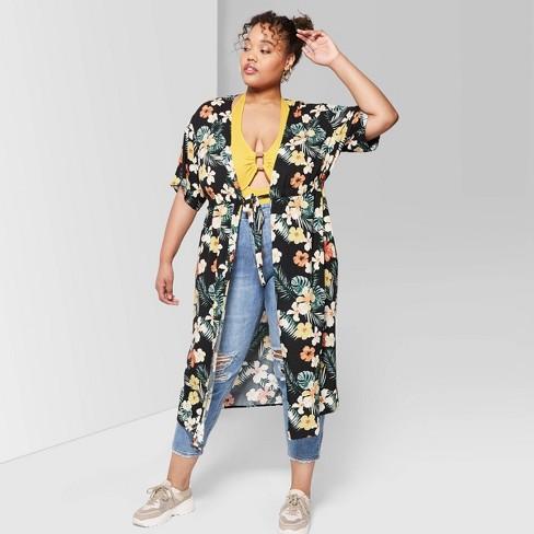 c846e27fcce Women s Plus Size Floral Print Short Sleeve Waist Tie Duster Kimono Jacket  - Wild Fable™ Black   Target