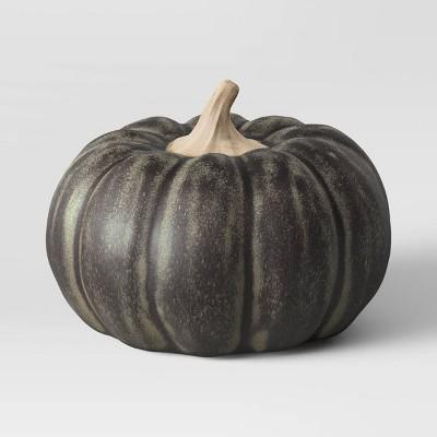 Medium Glazed Ceramic Pumpkin Black - Threshold™