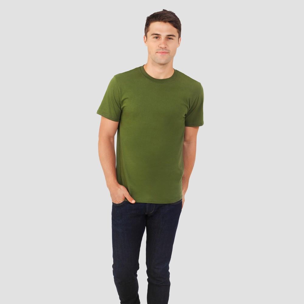 Fruit of the Loom Select Men's Short Sleeve Crew Neck T-Shirt - Olive Green S, Dark Green