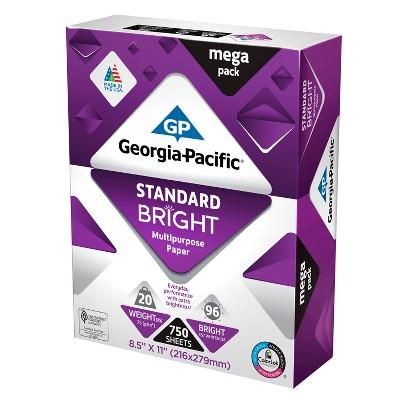 Georgia-Pacific Printer Paper Letter Size 20lb Standard Bright White 750ct