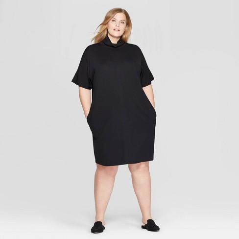 Women\'s Plus Size Short Sleeve Turtleneck Shirtdress - Prologue ...