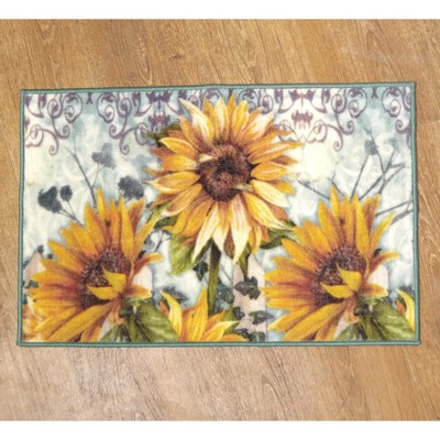 Lakeside Sunflower Farmhouse Bathroom Rug with Latex Nonslip Backing