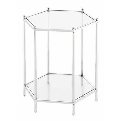 Royal Crest Hexagonal Chrome End Table Chrome - Breighton Home