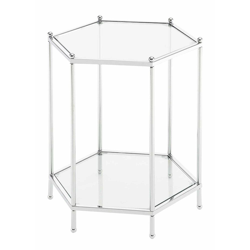 Royal Crest Hexagonal Chrome End Table Chrome Breighton Home