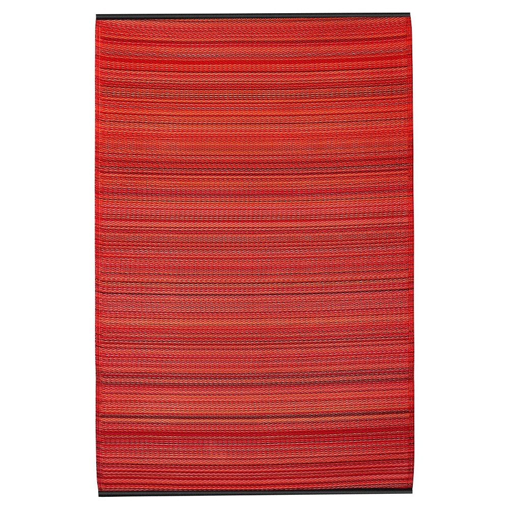 Image of Fab Habitat Outdoor Rug (3' x 5') - Cancun Sunset, Size: 3'X5', Red