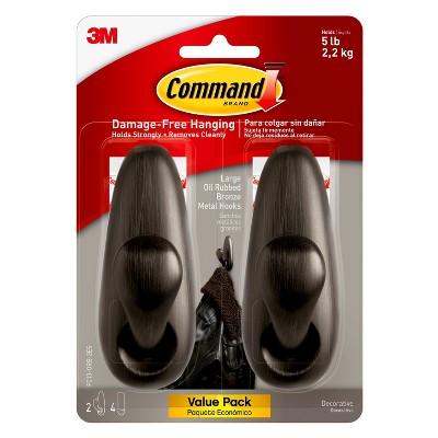 Command™ Large Oil Rubbed Bronze Metal Hooks, 2/pk
