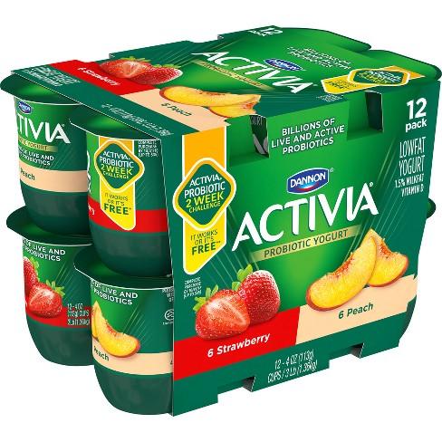 Dannon Activia Peach and Strawberry Probiotic Yogurt - 12pk/4oz cups