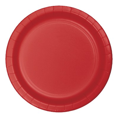 "7"" Round 60ct Disposable Snack Plate Red - Spritz™"