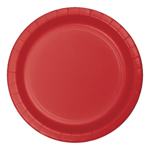 "7""Round 60ct Disposable Snack Plate Red - Spritz™ - image 1 of 1"