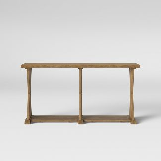 Litchfield Farmhouse Wood Long Sofa Table with Shelf Wheat - Threshold™