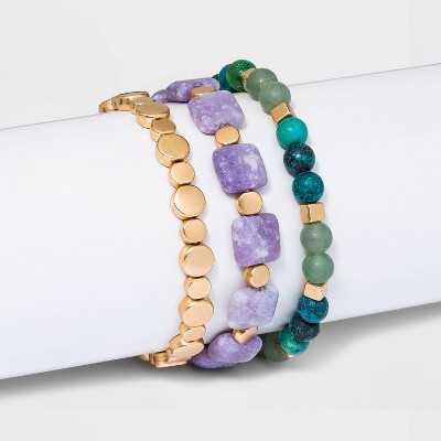 Semi-Precious Stretch Bracelet Set 3pc - Universal Thread™