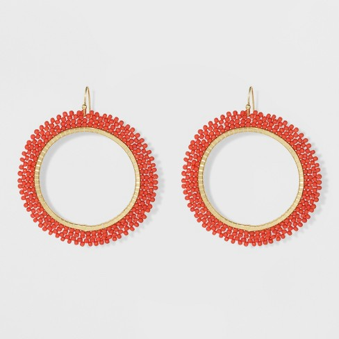 Beaded Seed Bead Hoop Earrings - A New Day™ - image 1 of 3