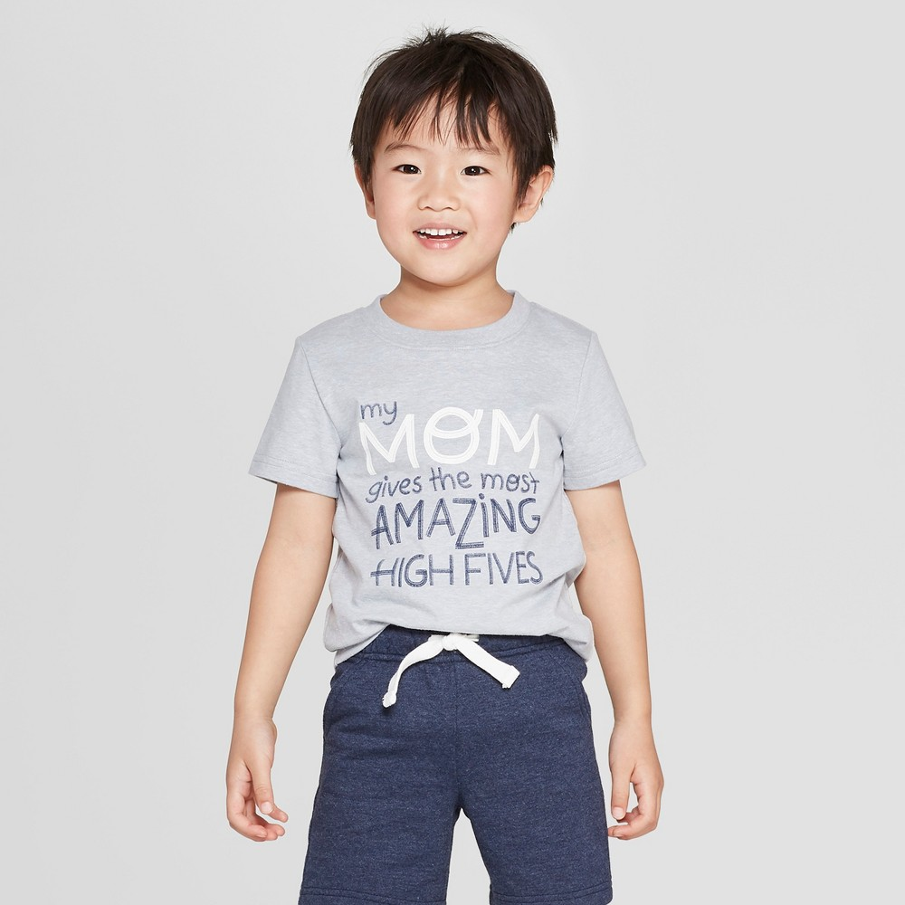 Toddler Boys' Short Sleeve My Mom Gives The Most Amazing High Fives T-Shirt - Cat & Jack Platinum 2T, Gray