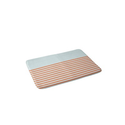 June Journal Beach Striped Memory Foam Bath Mat Blue/Orange - Deny Designs