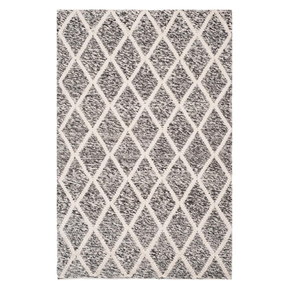 4'X6' Diamond Woven Area Rug Ivory/Black - Safavieh