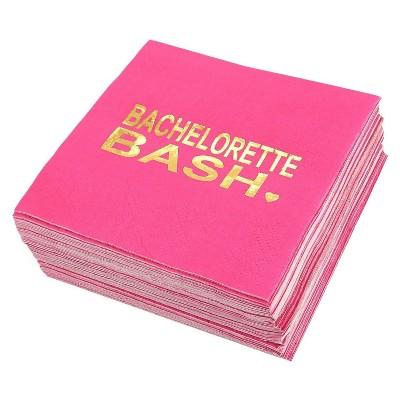 """Blue Panda 50 Pcs """"Bachelorette Bash"""" Disposable Paper Napkin Hot Pink Gold Foil 5"""" Bachelorette Party Supplies"""