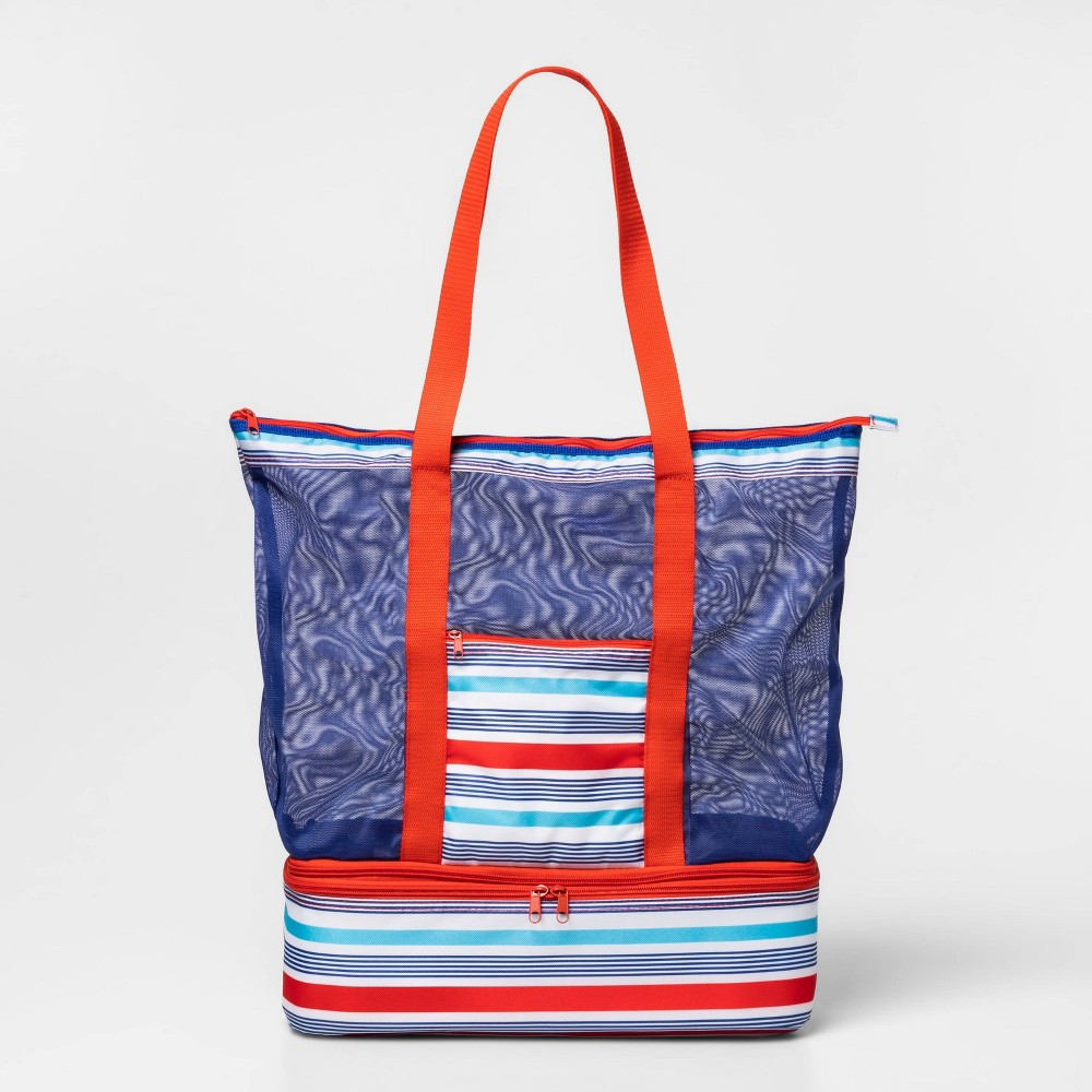 Image of 2-In-1 Cooler Tote With Mesh Striped Red/Blue - Sun Squad