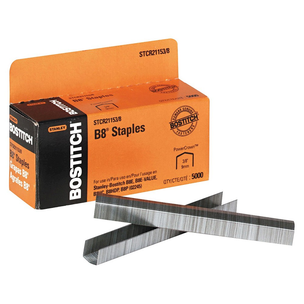 Stanley Bostitch B8 3/8 in. Leg Length Powercrown Staples (Box of 5000), Silver