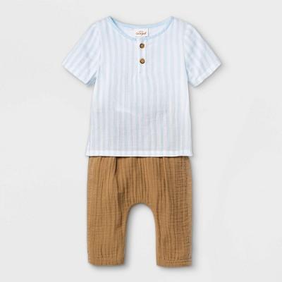 Baby Boys' 2pc Striped Gauze Top & Bottom Set - Cat & Jack™ Blue 12M