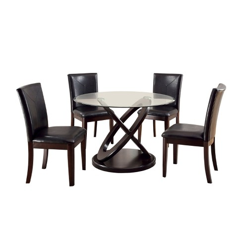 Iohomes 5pc X Crossed Base Glass Table Top Dining Table Set Wood