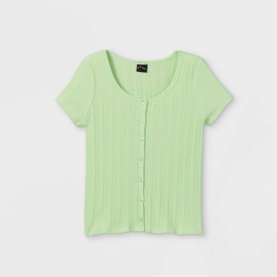 Girls' Rib-Knit Button-Front Short Sleeve T-Shirt - art class™