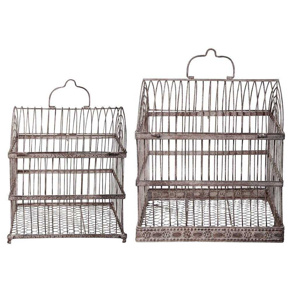 Image of 17 Decorative Aged Metal Cage with Chicken Wire and a Lockable Door - Brown - Esschert Design