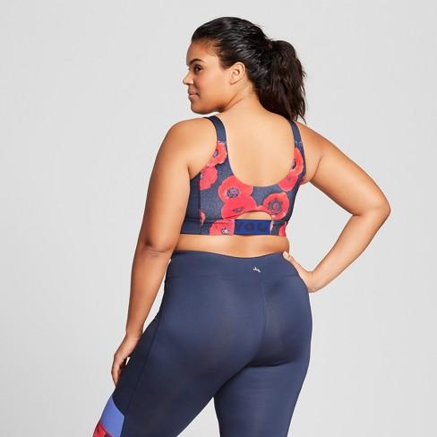 a72d2b5cf9 Women s Plus Color Block Sports Bra - JoyLab™ Navy Poppy   Target