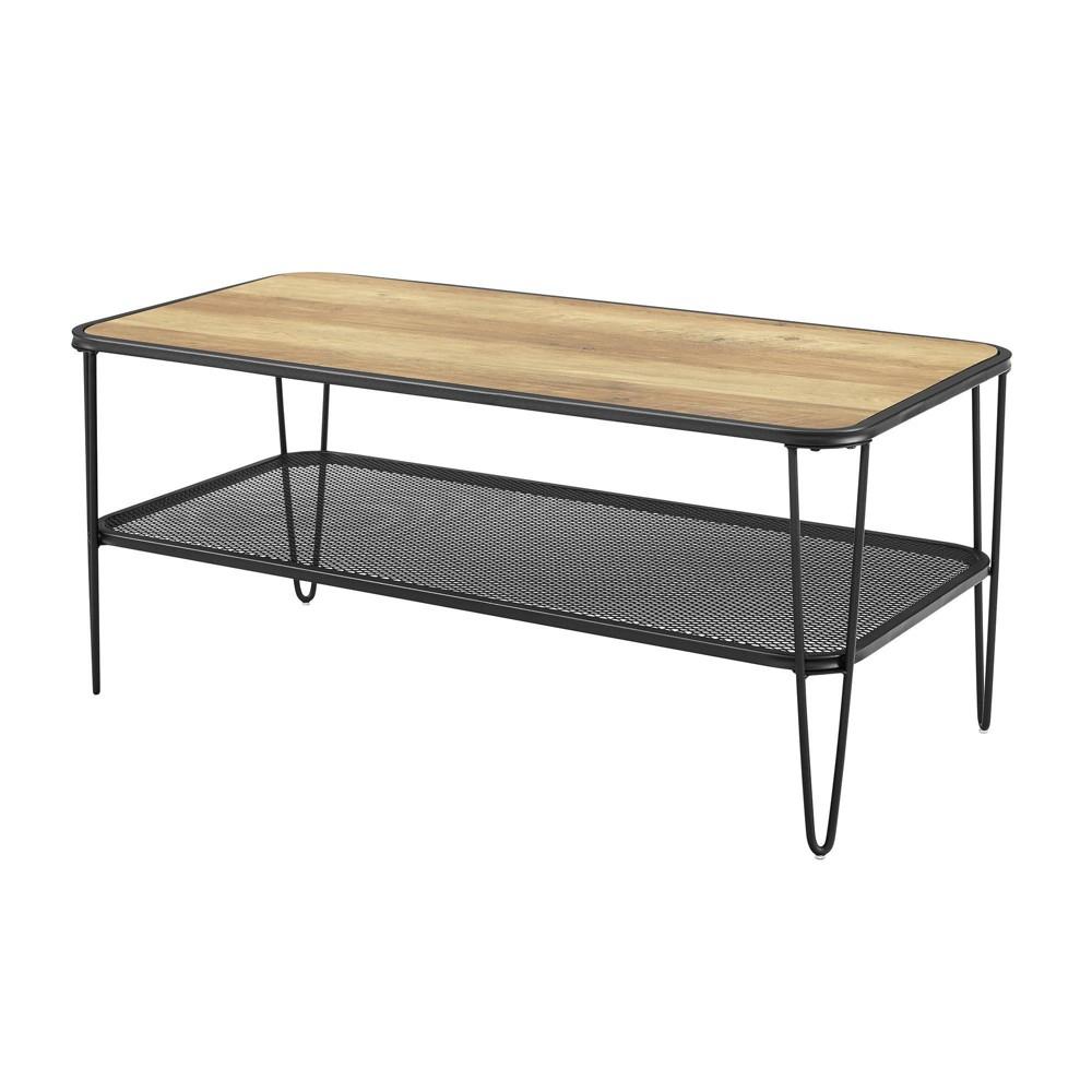 Industrial Hairpin Leg Coffee Table with Metal Mesh Shelf Rustic Oak - Saracina Home