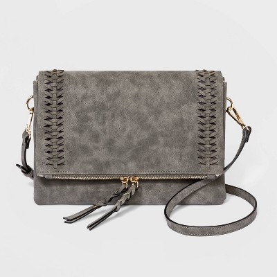 VR NYC Magnetic Closure Foldover Ring Crossbody Bag - Gray