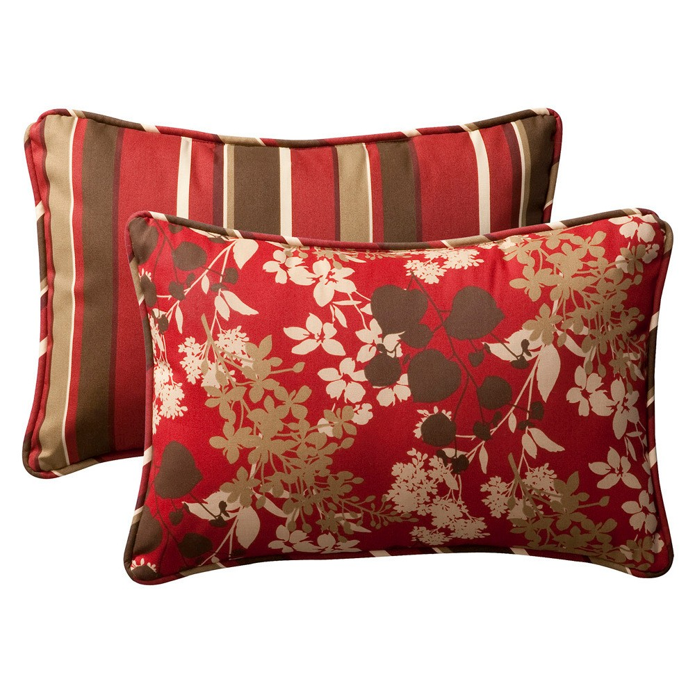 2 Piece Outdoor Reversible Toss Pillow Set Brown Red Floral Stripe 24