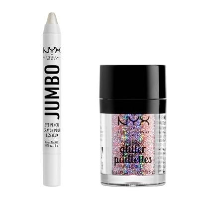 NYX Professional Makeup Glam Essentials - Beauty Beam Glitter & Jumbo Eye Pencil Kit - 2pk/0.26oz